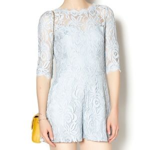 NWT Lace Romper Signature 8 light blue